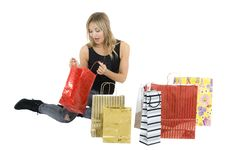 Free Sexy Blond Woman With Shopping Bags Royalty Free Stock Photos - 17449108