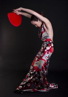 Free Flamenco Woman Dancer With Red Fan Royalty Free Stock Photo - 17449315