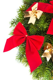 Christmas Tree With Ribbon Royalty Free Stock Photography