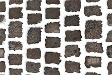 Free Detail Of Cobble Stone Paveway In Winter With Snow Royalty Free Stock Photography - 17449667