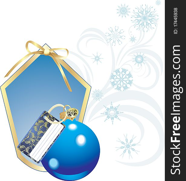 Blue Christmas ball with card and snowflakes