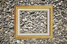 Golden Picture Frame On Stone Texture Royalty Free Stock Images