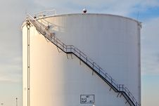 Free White Tanks In Tank Farm With Snow In Winter Stock Photo - 17450350