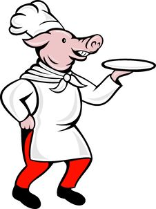 Free Pig Chef Cook Baker Serving Plate Stock Photo - 17450820