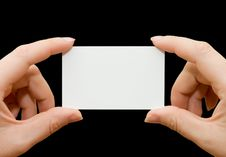 Free Paper Card In Woman Hand Royalty Free Stock Photos - 17451128