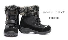 Free Black Child S Winter Boots Royalty Free Stock Photography - 17451227