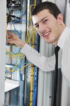 Free Young Engeneer In Datacenter Server Room Stock Images - 17451394