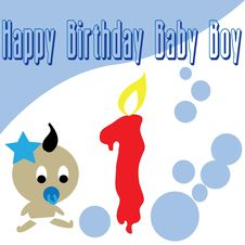 Baby Boy First Birthday Wallpaper Stock Photos