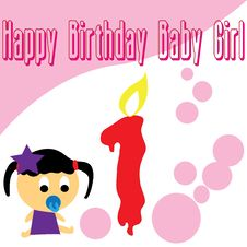 Baby Girl First Birthday Wallpaper Royalty Free Stock Photo