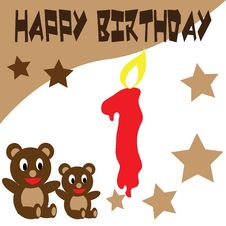 Free Birthday Teddy Bear Wallpaper Royalty Free Stock Photos - 17451468
