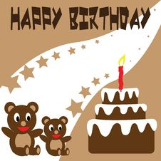 Free Birthday Teddy Bear Wallpaper Royalty Free Stock Images - 17451469
