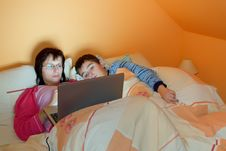 Free Portrait Of A Mother And Her Son Using Laptop Stock Image - 17451541