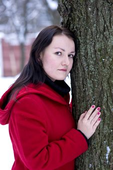 Free Girl Leaning On Tree Stock Images - 17451684
