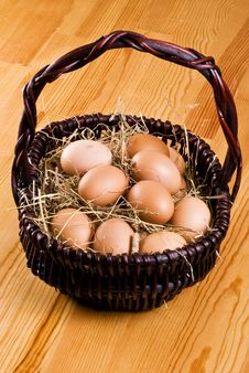 Fresh Eggs In The Basket Stock Image