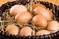 Free Fresh Eggs In The Basket Royalty Free Stock Photography - 17452017