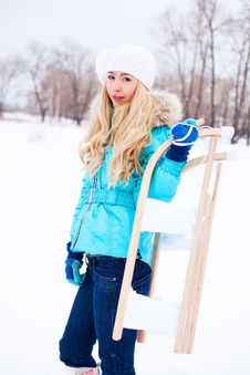 Free Girl With A Sled Stock Photo - 17452030