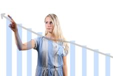 Free Woman Showing A Graph Royalty Free Stock Image - 17453086