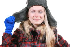 Woman Dressed In Winter Clothes Stock Photos