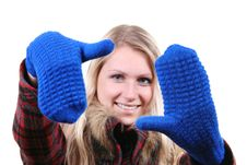 Free Woman With Blue Gloves On Her Hands Stock Photography - 17453212