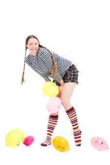 Free Girl With Baloons Stock Images - 17453214