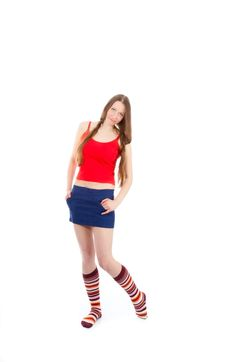 Free Woman Legs In Strip Sock Royalty Free Stock Image - 17453216