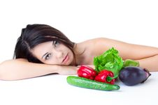 Free Young Girl With  Vegetables Royalty Free Stock Photography - 17453327