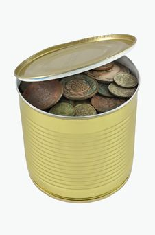 Free Open Can With Old Russian Coins Stock Photos - 17453353