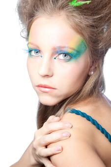 Free Beautiful Woman  With Color Makeup Royalty Free Stock Image - 17453356