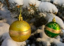 Free Christmas Decorations On Fir Branch Stock Images - 17453504