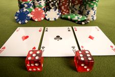 Dice, Cards And Poker Chips Royalty Free Stock Photo
