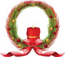 Free Christmas Wreath With Candle Stock Photo - 17453950