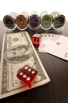 Dice, Cards And Poker Chips Royalty Free Stock Images