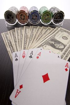 Free Dollars,cards And Poker Chips Royalty Free Stock Photography - 17454017