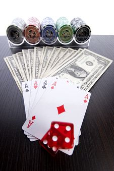 Free Dollars,cards And Poker Chips Stock Photo - 17454040