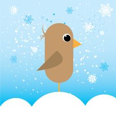 Free Little Bird In Cold Illustration Royalty Free Stock Images - 17454079