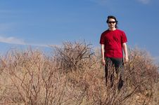 Free Man In Red Shirt Royalty Free Stock Photography - 17454107