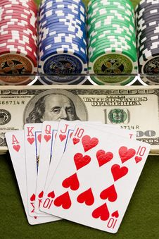 Free Dollars,cards And Poker Chips Royalty Free Stock Images - 17454199