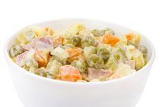 Russian Salad In Bowl Royalty Free Stock Photography