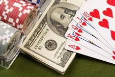 Free Dollars,cards And Poker Chips Stock Photography - 17454282
