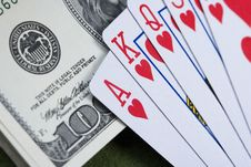 Free Dollars,cards And Poker Chips Royalty Free Stock Photos - 17454318
