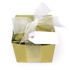 Free Gold Gift White Bow Royalty Free Stock Photos - 17454918