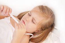 Free Sick Girl Measuring Temperature Stock Photo - 17455310