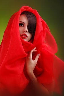 Free Beautiful Face Sweet Lips Folds Of Red Cloth Royalty Free Stock Photography - 17455337