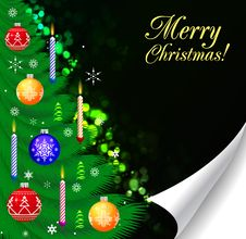 Free Christmas Tree Decorated.Over Black Royalty Free Stock Photography - 17455807