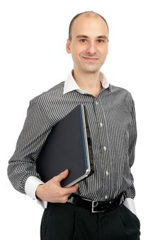 Free Young Man Holding A Laptop Royalty Free Stock Images - 17456129
