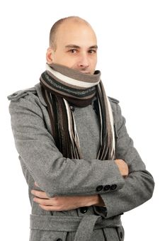 Free Portrait Of Handsome Man In Scarf And Coat Royalty Free Stock Image - 17456196