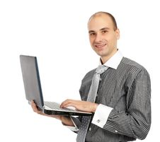 Free Happy Man With Laptop Stock Photo - 17456200
