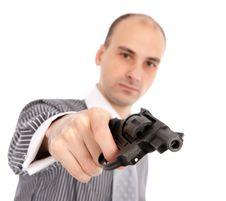 Young Attractive Man With Gun Stock Photos