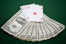 Free Dollars,cards And Poker Chips Royalty Free Stock Images - 17456699
