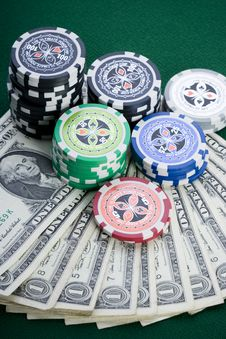 Free Dollars,cards And Poker Chips Stock Photo - 17456760